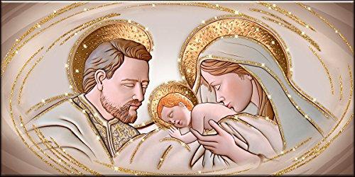 Deco Italia Quadro Sacro Capezzale Santa Famiglia The Kiss Ceramic Oro con Glitter | 60 x 120 cm