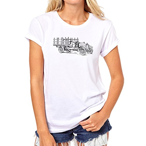 Car Vehicle Four Wheels Auto Truck Old Village Damen T-Shirt Weiß