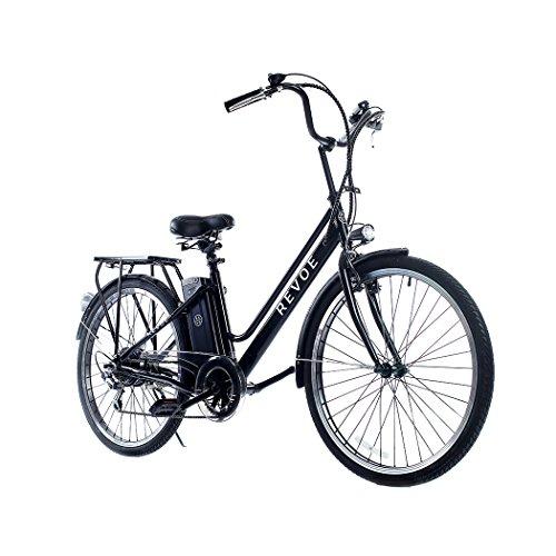 Revoe e-bike, Citybike. Nera, cerchi in lega, 26'', velocità massima 25 km/h, 45 Km di autonomia