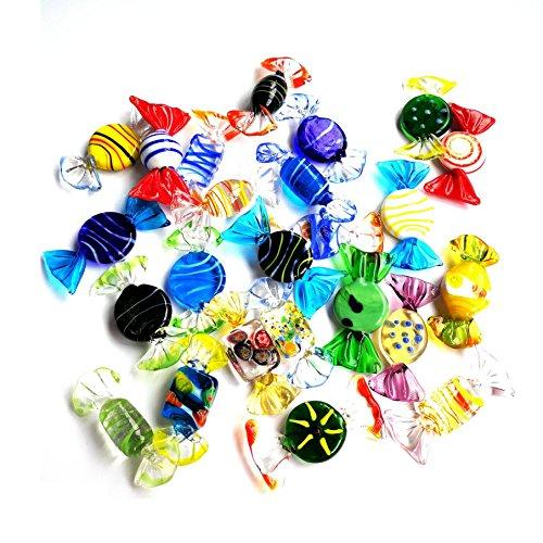Samje 24 stücke Vintage Murano Stil Verschiedene Glas Süßigkeiten Candy Ornament für Home Party Hochzeit Weihnachten Weihnachten Festival Dekorationen Geschenk