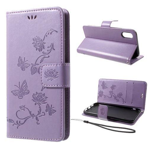 jbTec® Flip Case Handy-Hülle zu Apple iPhone X - BOOK Muster Schmetterlinge & Blumen #S26 - Handy-Tasche, Schutz-Hülle, Cover, Handyhülle, Ständer-Funktion, Bookstyle, Booklet, Farbe:Türkis Flieder