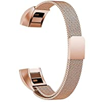 Replacement Bands Compatible for Fitbit Alta and Alta HR Milanese Loop Stainless Steel Metal Bands Bracelet Smart Watch Strap for Women Men - Large, Rose-Gold