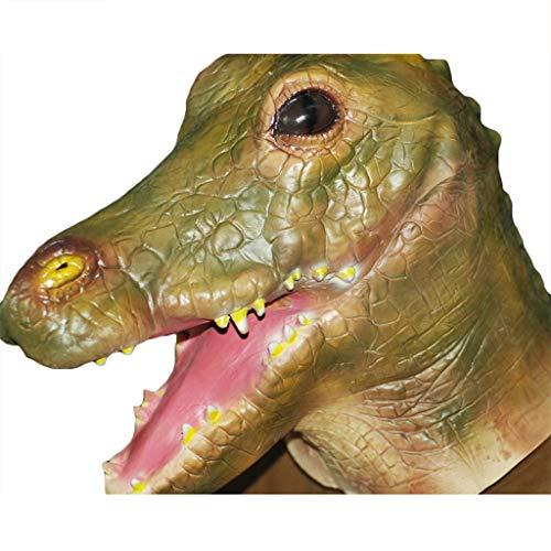 QWEASZER Erwachsene Damen Herren Green Crocodile Rubber Vollmaske Tier Halloween Kostüm Outfit Zubehör (Krokodil),Crocodile-OneSize (Kinder Hulk Outfit)