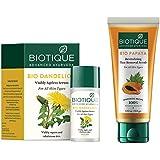 Biotique Bio Dandelion Visibly Ageless Serum, 40 ml & Biotique Papaya Revitalizing Tan Removal Scrub, Transparent, 100 g