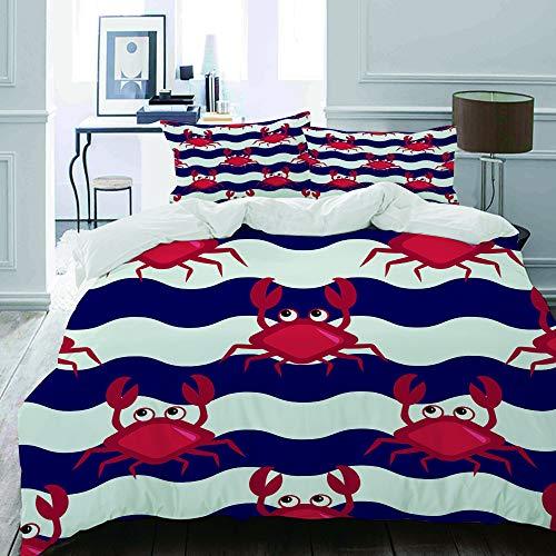 MIGAGA Bettwäsche-Set, Mikrofaser,Seeseethema-Nette Krabben auf gestreifter Hintergrund-Illustration,1 Bettbezug 160 x 200cm+ 2 Kopfkissenbezug 80x80cm -
