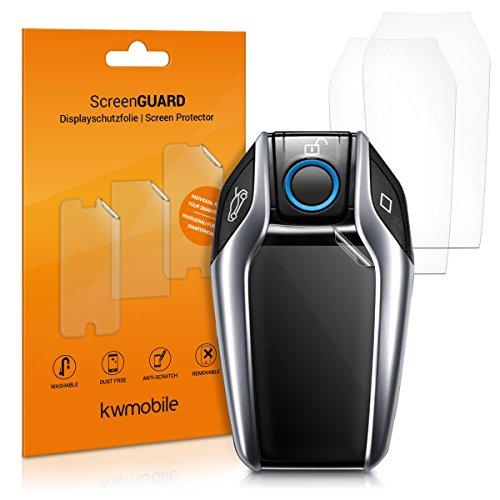 3x Schutzfolie für Display Key Autoschlüssel - kwmobile Transparente TPU Auto Schlüssel Displayschutzfolie - Klare Fahrzeugschlüssel Folie