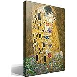 Canvas lienzo bastidor El Beso de Gustav Klimt - Ancho: 55cm - Alto: 75cm - Bastidor: 3cm - Imagen alta resolución - Impresión sobre Lienzo de Algodón 100% - Bastidor de madera 3x3cm - reproduccion digital de obras de arte - Cuadro de calidad superior - Fabricado en España