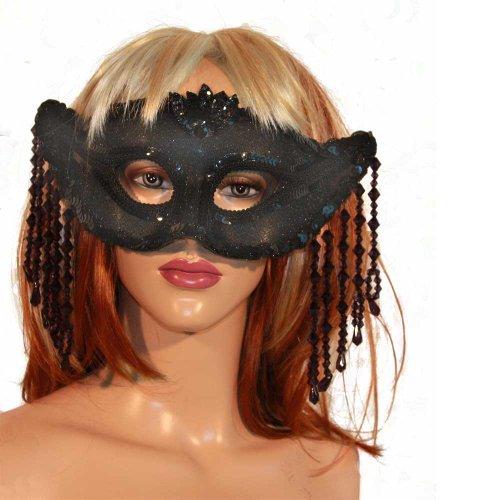 Venezianische Maske schwarz lila mit Perlen Augenmaske Karneval Fasching
