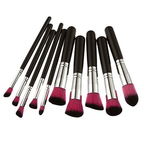 10 pcs Ensemble de brosse de maquillage professionnel Kabuki Fond de teint Fard à joues Poudre Visage œil ombrage multifonctionnel Pinceaux Kits