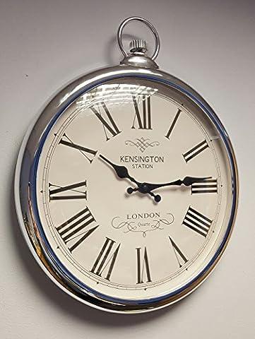 Large Silver Wall Clock Vintage Pocket Fob Style Kitchen Hallway 42cm