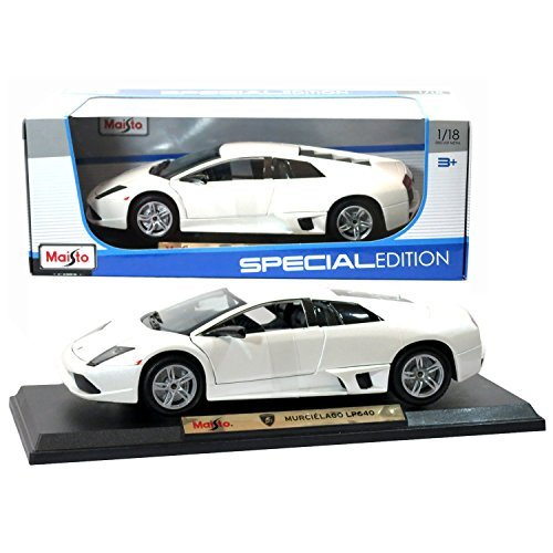 Maisto Year 2015 Special Edition Series 1:18 Scale Die Cast Car Set - White Color Two Door Roadster Sports Coupe LAMBORGHINI MURCIELAGO LP640 (Dimension: 9-1/2 x 4-1/2 x 2-1/2) by Maisto (Scale-2015 Diecast 1 18)
