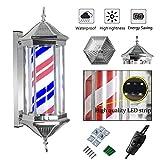 70cm / 27in Rétro LED Poteau de barbier Rotation Lumineuse Rayures Étanche Lampe...