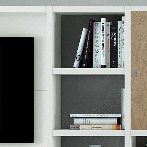 Wohnwand TV-Kombination TOLEO238 Lack weiß, Eiche Sonoma - 2