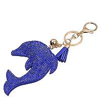 SZTARA New Fashion Dolphin Crystal Keychain Pendant Leather Rhinestone Keyring Bag Key chain Ring Finder