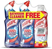 Harpic Toilet Cleaner Liquid Limescale Remover, Original, 750 ml, Pack of 2 and Bathroom Cleaner, Lemon, 500 m