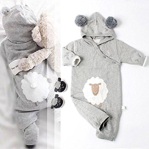 zooarts für 0–2Jahre Infant Neugeborenen Baby Stricken Lange Ärmel hat Gap Jumpsuit Body Outfits Kleidung, grau, 66 (0-6 Months) (Baby Gap Mädchen-kleidung)