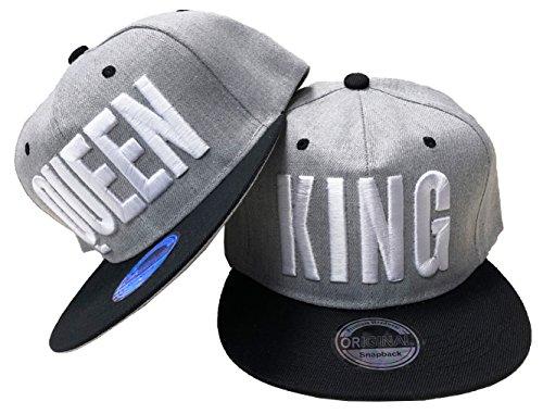JameStyle26 King & Queen Snapback Set USA Cap Kappe Basecap Mütze Trucker Cappy Kult (King & Queen Grau Set)
