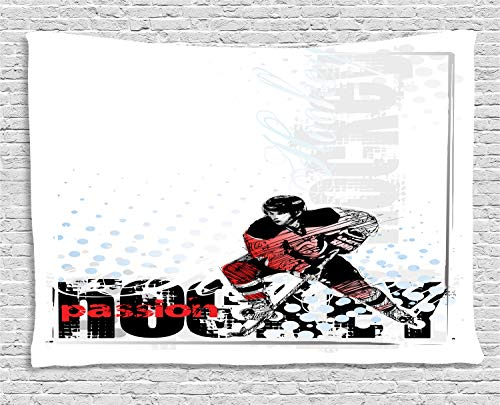 ABAKUHAUS Eishockey Wandteppich, Goalie, der Grafik spielt, Wohnzimmer Schlafzimmer Heim Seidiges Satin Wandteppich, 200 x 150 cm, Mehrfarbig