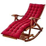 Bseack Schaukelstuhl, Multifunktions-Haushalt Verstellbarer Massivholz-Lounge-Sessel mit Fußstütze fauler Schaukelstuhl/Lounge (Farbe : Rot)