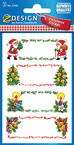 Avery Zweckform 52362 Weihnachtssticker Beschriftung Schilder 12 Aufkleber