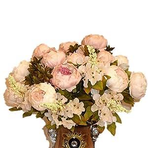 DAYAN Simulazione peonia seta grande mazzo plastica finto floreali fiori artificiali Casa Giardino Fai da te decorazione della festa nuziale colore Rosa chiaro