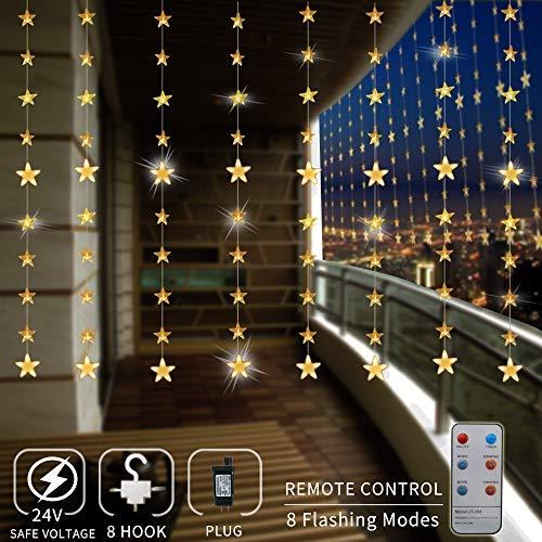 Areskey LED Lichterketten,80 Sterne 144 LEDs Anschließbar Sternenvorhang mit 8 Modi Fernbedienung,...