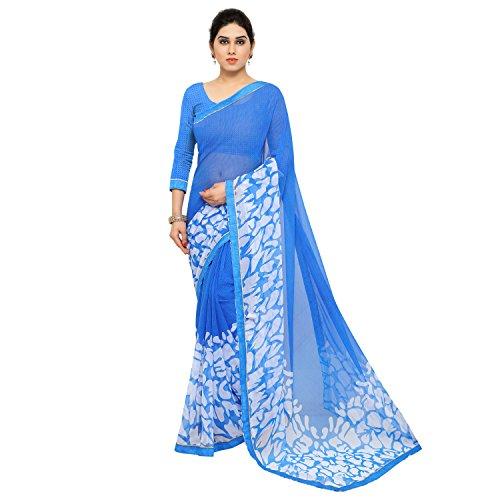 Jaanvi Fashion Women's Chiffon Saree With Blouse Piece (Cherry-Blue,Blue,Free Size)