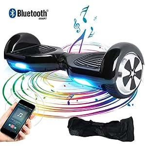 BEBK Hover Board Smart Self Balance Scooter con Bluetooth,Overboard con LED Autobilanciato Scooter Certificazione UL 2272,2 * 350W Motore (Black-BL-IT)