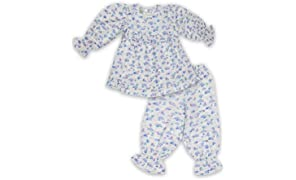 Little Bum Full Sleeves Sleepwear, 2 Piece Top and Pajama Set - 100% Cotton (Knitted) - Hand Printed, Hand Made Nightwear for Baby Girl