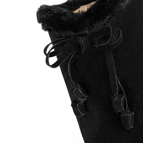 AllhqFashion Damen Blend-Materialien Rund Zehe Ziehen Auf Stiefel Schwarz-Knoten