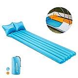 Overmont Selbstaufblasbar Campingmatratze Luftmatratze mit Kopfkissen für Zelt Reisen Entspannen (Blau/Orange)