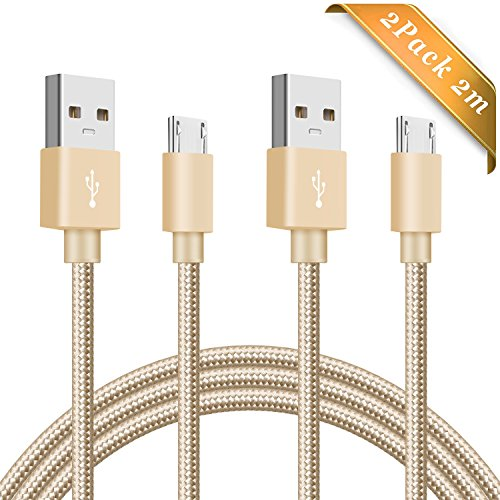 Sprint Handy-service (Micro USB Kabel Elegear 2 Pack 2M Nylon Android Ladekabel geflochtenes Datenkabel Ladekabel High Speed USB 2.0 für Android Geräte, Samsung, HTC, Motorola, Nokia, LG, HP, Sony, Blackberry HUAWEI und mehr - Gold)