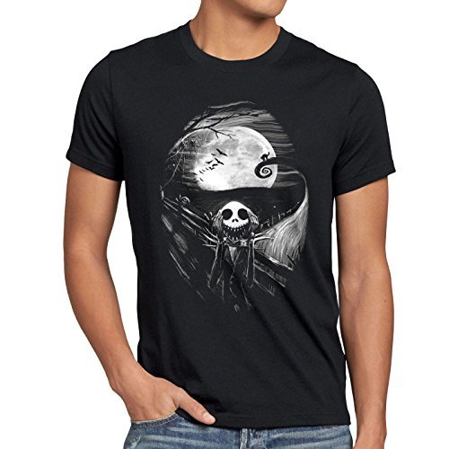 (style3 Munch Nightmare Herren T-Shirt Jack Skellington schrei Christmas Before Weihnachten Edward, Größe:M)