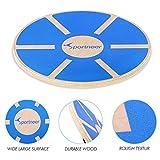 Sportneer® Balance Board Holz Durchmesser 40cm Gleichgewicht Board- professionel für die Übung, Gym, Sport Performance Enhancement, Rehab, Ausbildung, Blau