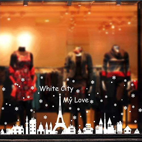 hite City Snowflake Xmas Wall Stickers Shop Window Glasses Decor Christmas Party Decoration Removable Art Decals ()