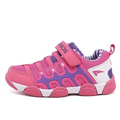 Unisex Kinder Outdoor Sportschuhe Klettverschluss atmungsaktiv Mesh Sneakers für Jungen and Mädchen Rosa