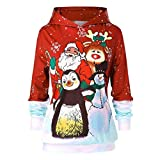 Odejoy Women Christmas Print Sweatshirt Pullover Top Party Plus Size Blouse Shirt T-Shirt Natale Donne Maglie Maniche Lunghe a Manica Lunga Pullover Babbo Natale (XL, Red)
