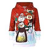LoveLeiter Damen Christmas Pullover Weihnachtsmann Hoodies Sweatershirt Sweater Kapuzenpullover Langarm Schneemann Elch Santa Drucken Kapuzen Oberteil Longpullover