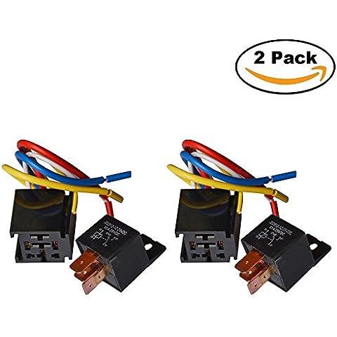Ehdis® [2 Pack] carro del coche de motor para trabajo pesado Heavy Duty 5-pin 24V 80A On / Off normalmente abierto SPDT Relay Socket Plug 5 alambre a prueba de