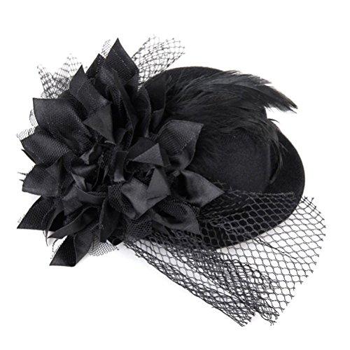 Preisvergleich Produktbild ueetek Mini Top Hat auf Kopfband mit Paillettenverzierung und Netz – One Size (schwarz)