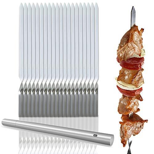 20 Pack Schaschlikspieße Edelstahl, Grillspieße 30cm - Sicher, Haltbar & Wiederverwendbar - Perfekte für BBQs Grillen Grillpartys Grillfleisch Obst Gemüse| Tragbarem Aufbewahrungsrohr Edelstahl