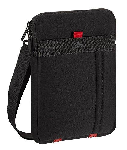 RivaCase Schutz Tasche Hülle Cover Etui + Außenfach für Zubehör + Schultergurt in Schwarz für ZTE Base Tab