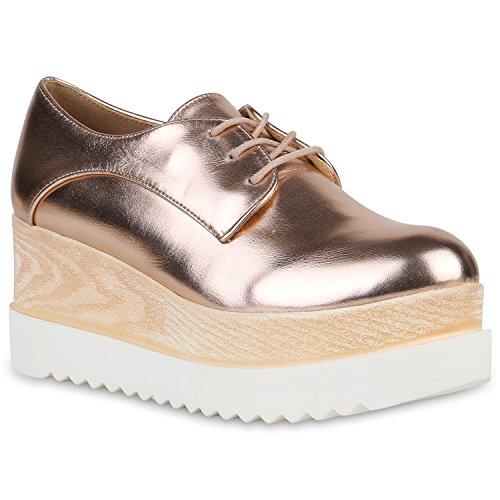 Stiefelparadies Damen Halbschuhe Metallic Plateauschuhe Profil Plateau Schuhe 149449 Rose Gold Plateau 38 Flandell