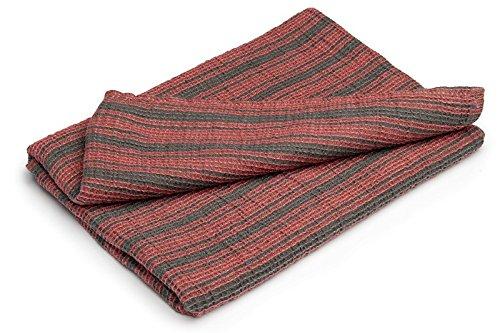 Handtuch Halbleinen pastellrot/ grau gestreift