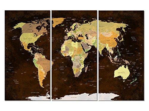 Vetro immagine Trittico EM30000004mappa del mondo marrone 14.998,7x 10.000cm XXL