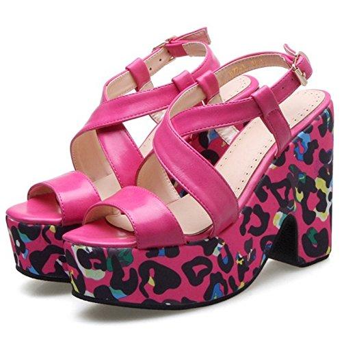 COOLCEPT Femmes Mode Orteil ouvert Sandales Bloc Slingback Chaussures Rose Rouge