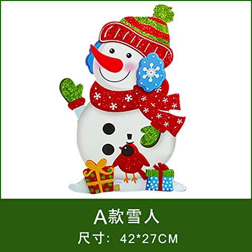 HAPPYLR Weihnachtsschmuck Papier Weihnachtsmann Schneemann Ornamente 3D Dreidimensionale Aufkleber Fensteraufkleber Weihnachten Tür Hängen, EIN Abschnitt Schneemann -