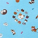 Blaues Wachstuch mit kleinen Katzen