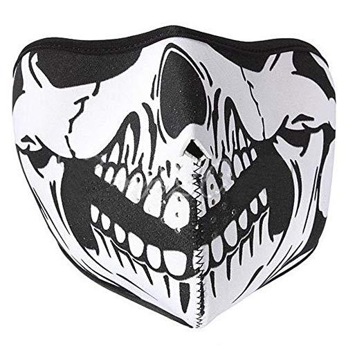 MAXGOODS 2pièces en néoprène Tête de Mort Moto à Visage Complet Masque Squelette Motard Snowboard Vent Bugs de la poussière Shield motoneige pour Sortie d'équitation de Moto Noir