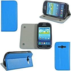 Etui luxe Samsung Galaxy Ace 3 GT-S7270 / GT-S7272 / GT-S7275 Ultra Slim Cuir Style bleu avec stand - Housse coque de protection bleue Samsung Galaxy Ace 3 S7270 / S7272 / S7275 (Wifi, 3G, 4G) - Prix découverte accessoires pochette XEPTIO : Exceptional case !